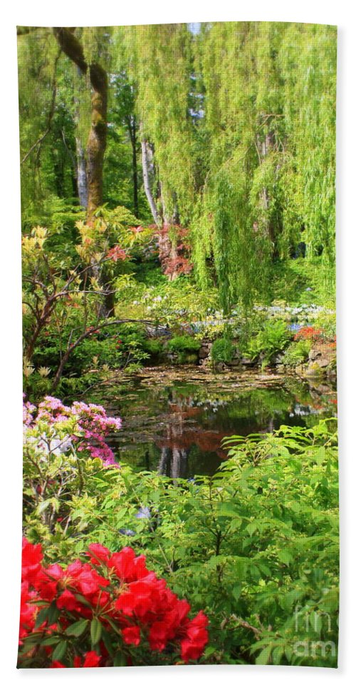 Ponds Beach Towel featuring the photograph Secret Garden Pond by Carol Groenen
