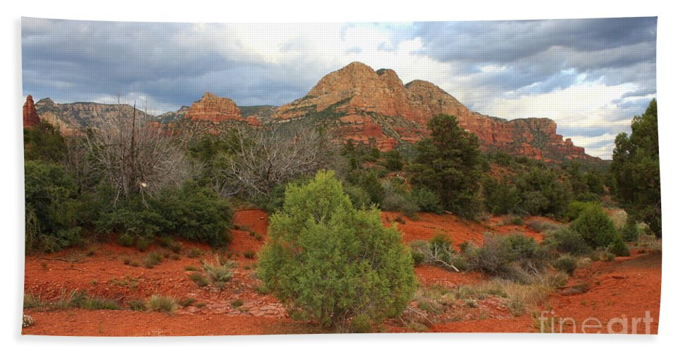 Sandstone Beach Towel featuring the photograph Sedona Balance by Carol Groenen