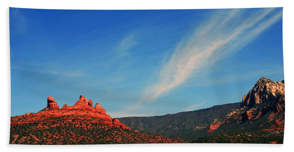 Photography Beach Towel featuring the photograph Sedona Clouds by Susanne Van Hulst