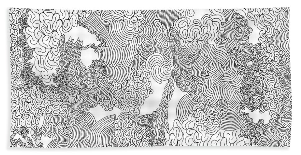 Mazes Beach Towel featuring the drawing Seduction by Steven Natanson