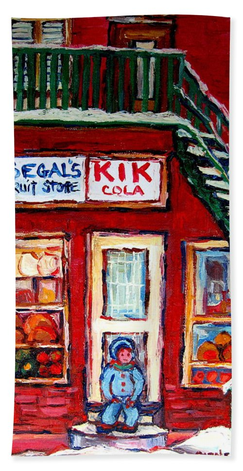 Segal Beach Towel featuring the painting Segal's Market St.lawrence Boulevard Montreal by Carole Spandau