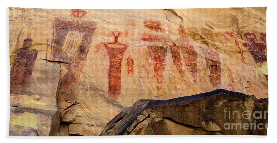 Sego Beach Towel featuring the photograph Sego Petroglyphs Utah 3 by Bob Christopher