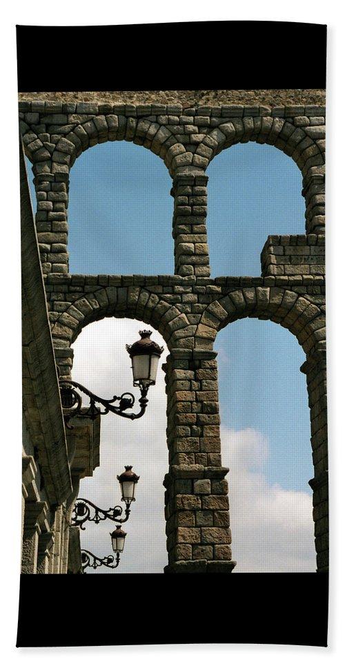 Segovia Beach Towel featuring the photograph Segovia Aqueduct by Alynne Landers