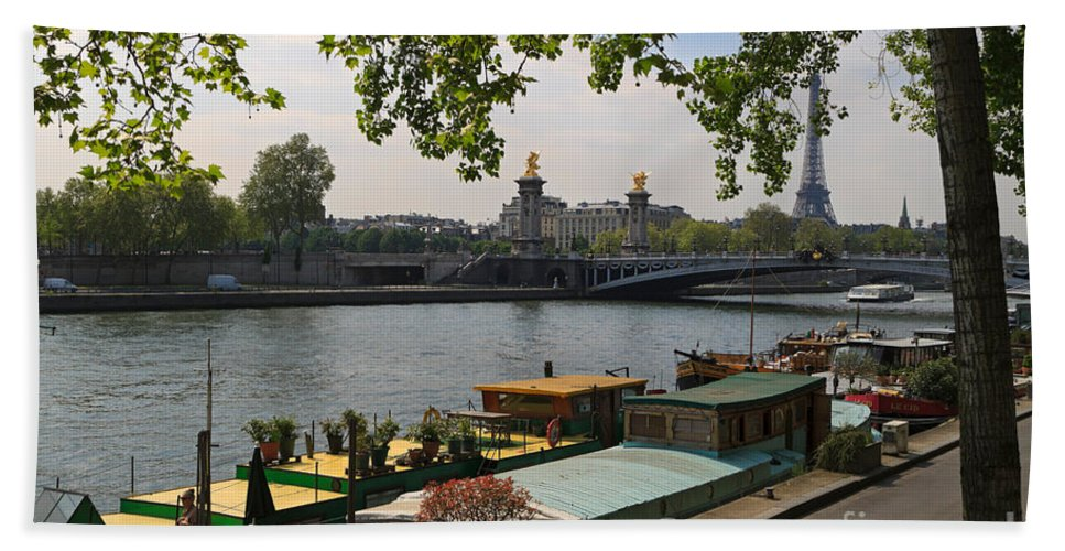 Seine Beach Towel featuring the photograph Seine Barges In Paris In Spring by Louise Heusinkveld
