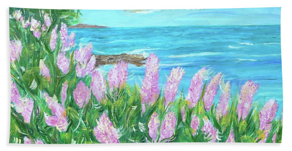Ocean Scene Beach Towel featuring the painting Seize The Breeze by Sara Credito