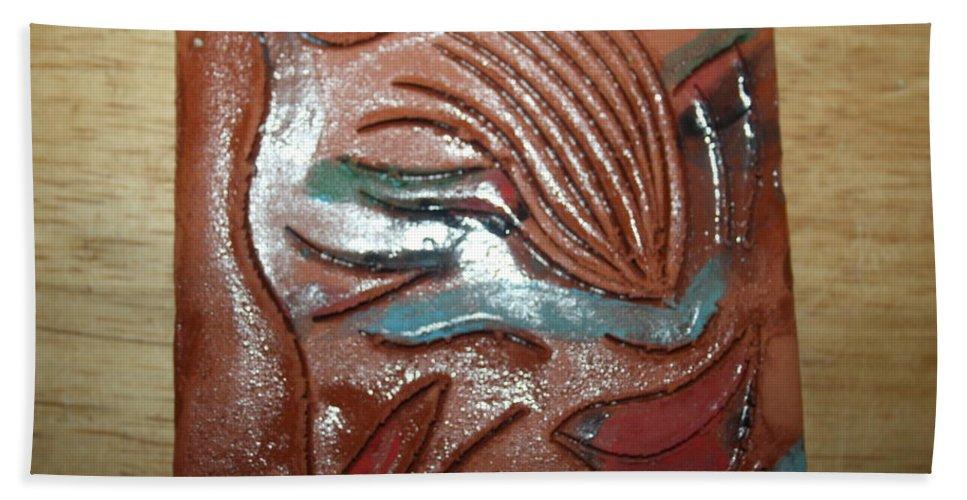 Jesus Beach Towel featuring the ceramic art Selene -tile by Gloria Ssali