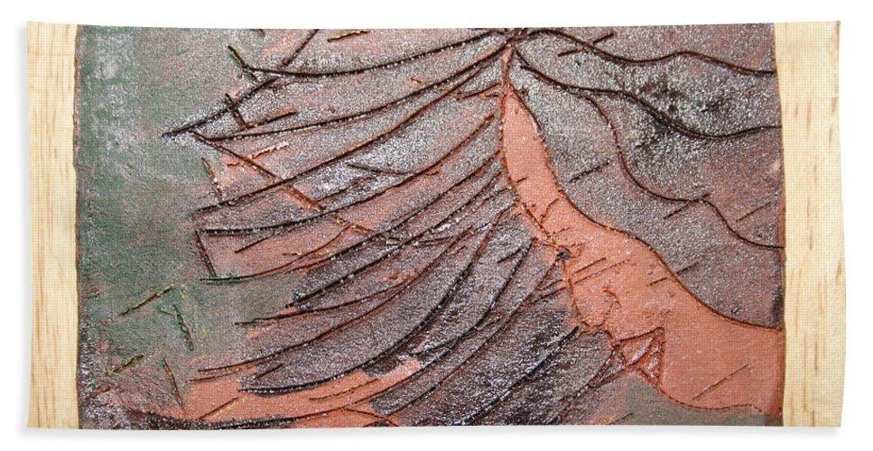 Jesus Beach Towel featuring the ceramic art Selinas Babe - Tile by Gloria Ssali