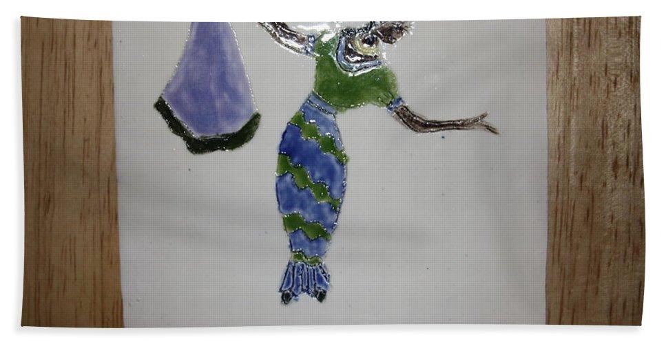 Jesus Beach Towel featuring the ceramic art Selma - Tile by Gloria Ssali