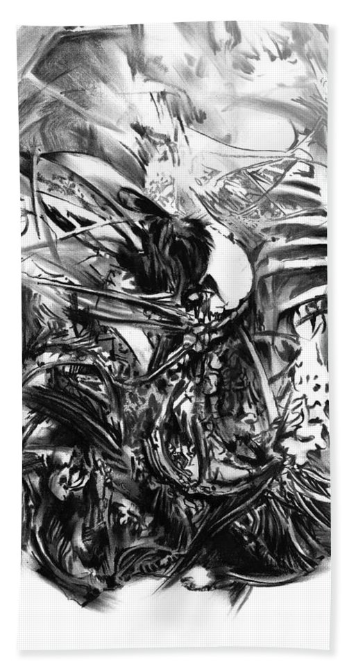 Figurative Beach Towel featuring the drawing Senescence 7 by Paul Davenport