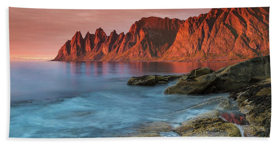 Senja Beach Towel featuring the photograph Senja Red by Alex Conu