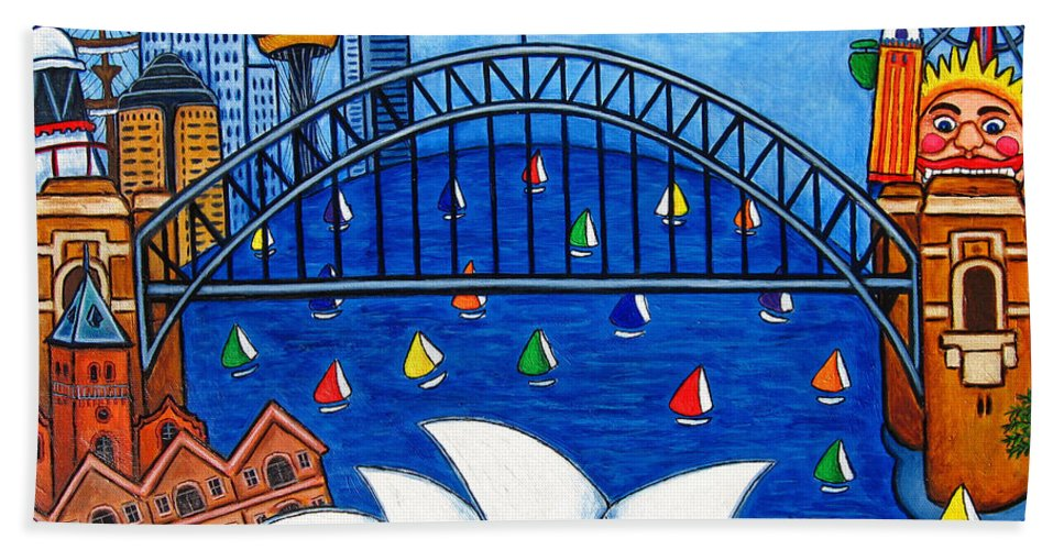 House Beach Towel featuring the painting Sensational Sydney by Lisa Lorenz