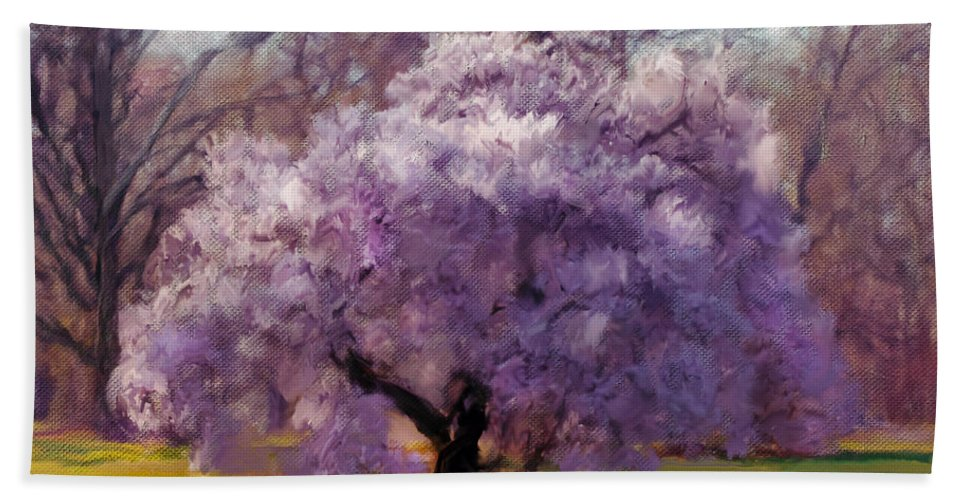 Blossom Beach Towel featuring the painting Sensual Secrets Where Passion Blooms by Georgiana Romanovna