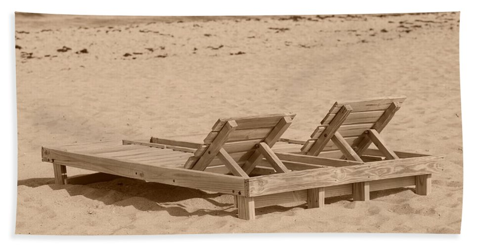 Chez Lounge Beach Towel featuring the photograph Sepia Chairs by Rob Hans