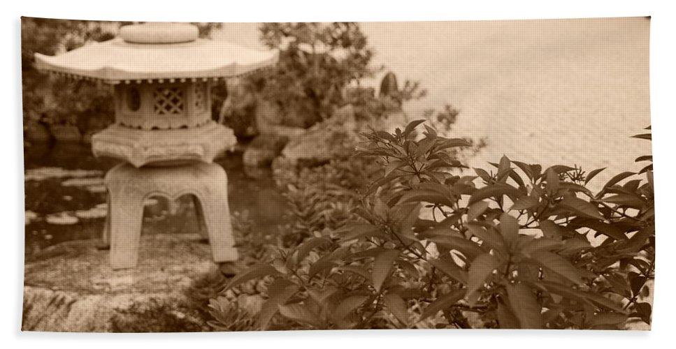 Sepia Beach Towel featuring the photograph Sepia Japanese Garden by Rob Hans