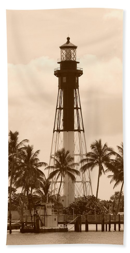 Sepia Beach Towel featuring the photograph Sepia Light House by Rob Hans