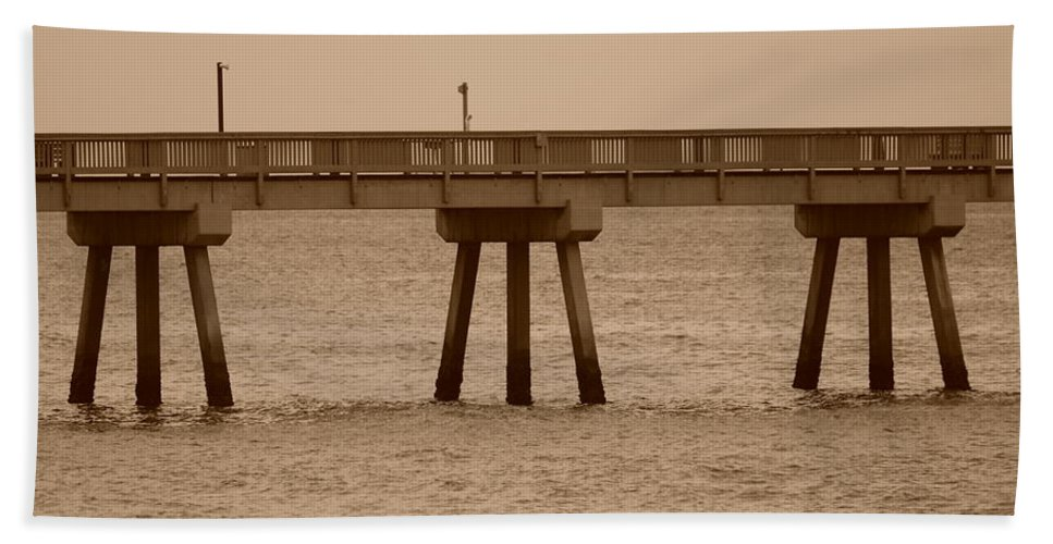 Sepia Beach Towel featuring the photograph Sepia Pier by Rob Hans