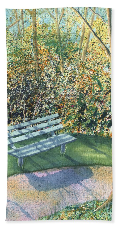 Autumn Trees Beach Sheet featuring the painting September Afternoon by Lynn Quinn