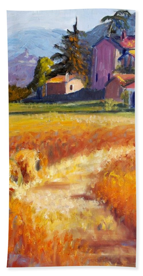 Landscape Beach Towel featuring the painting September by Elena Sokolova