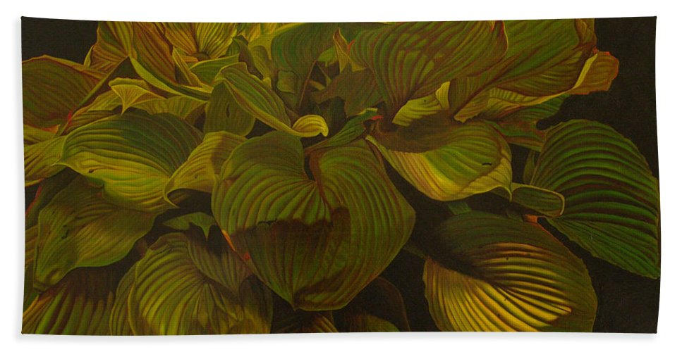Plant Beach Towel featuring the painting September Night by Thu Nguyen