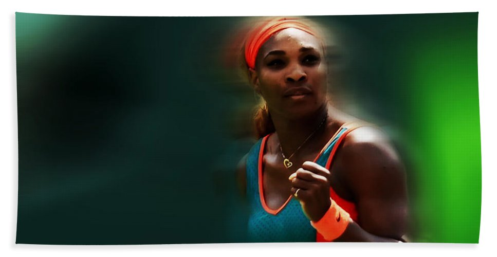 Serena Williams Beach Towel featuring the mixed media Serena Getting It Done by Brian Reaves