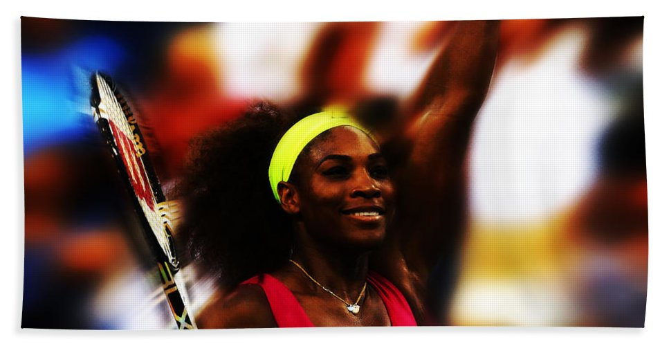 Serena Williams Beach Towel featuring the mixed media Serena Williams Another Record Set by Brian Reaves