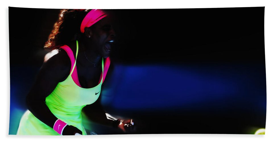 Serena Williams Beach Towel featuring the mixed media Serena Williams Triumpant by Brian Reaves