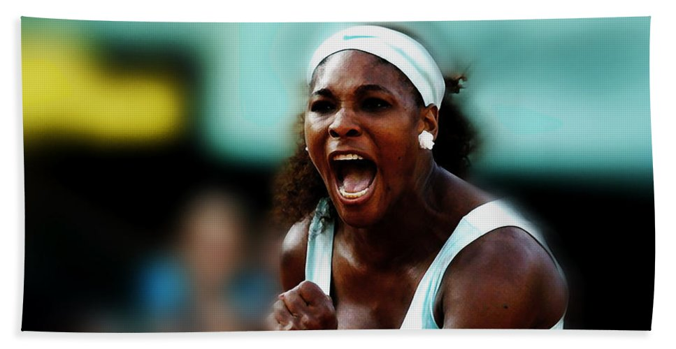 Serena Williams Beach Towel featuring the mixed media Serena Winning Spirit by Brian Reaves