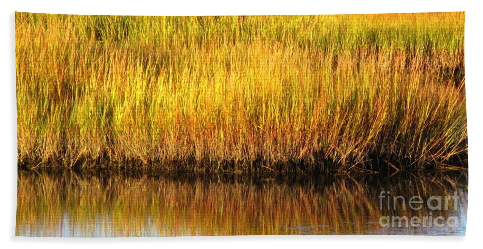 Water Beach Towel featuring the photograph Serene Grasses by Sybil Staples