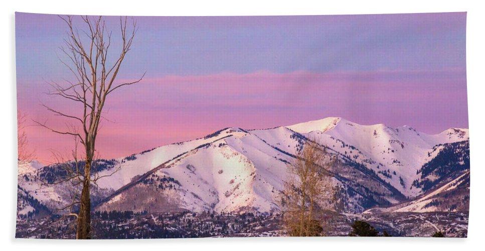 La Plata Mountains Beach Towel featuring the photograph Serene Sunset by Jen Manganello