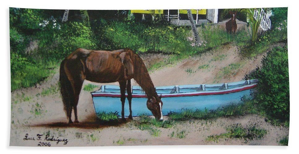 Aguadilla Beach Towel featuring the painting Serenity by Luis F Rodriguez