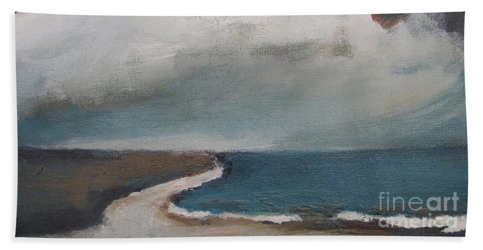 Seascape Beach Towel featuring the painting Serenity Under Clouds by Vesna Antic