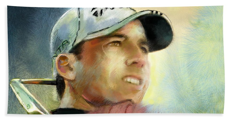 Golf Painting Golfart Castello Masters Spian Sport Beach Towel featuring the painting Sergio Garcia In The Castello Masters by Miki De Goodaboom