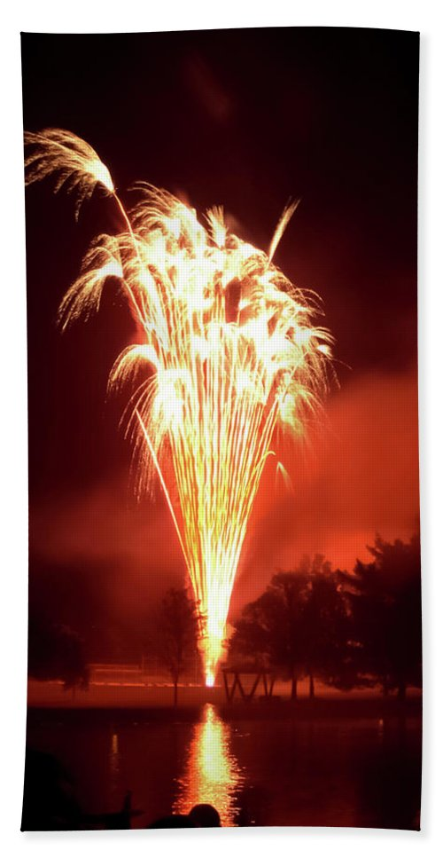 Series Of Fireworks 2 Beach Towel featuring the photograph Series Of Fireworks 2 by Cynthia Woods