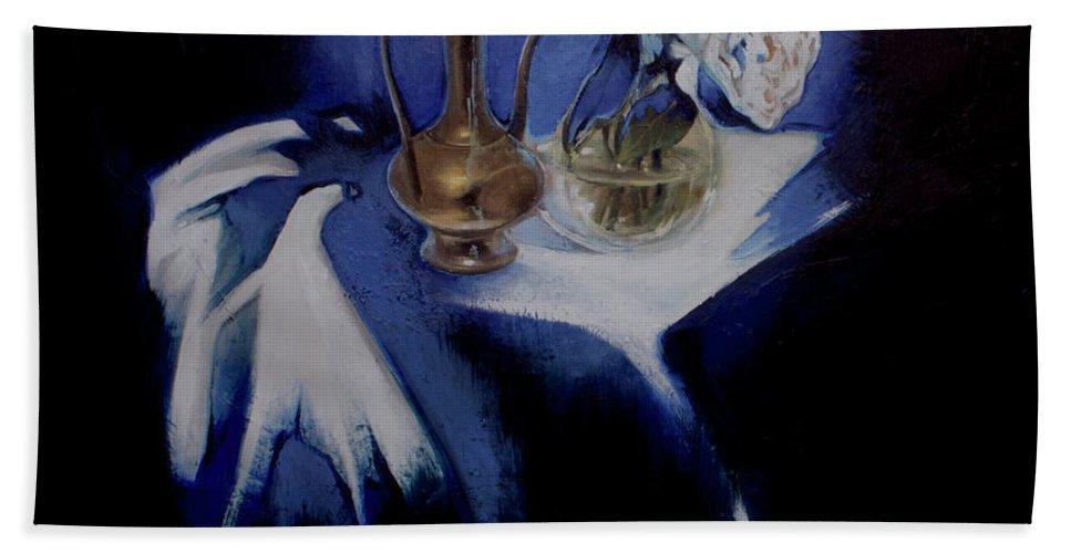 Lin Petershagen Beach Towel featuring the painting Served by Lin Petershagen