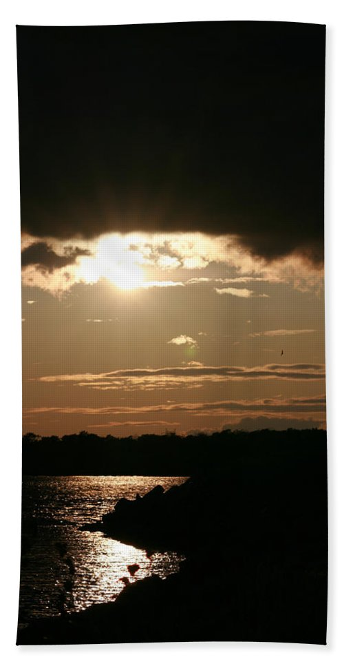 Sunset Lake Water Trees Rocks Shore Clouds Beach Towel featuring the photograph Setting Sun by Andrea Lawrence