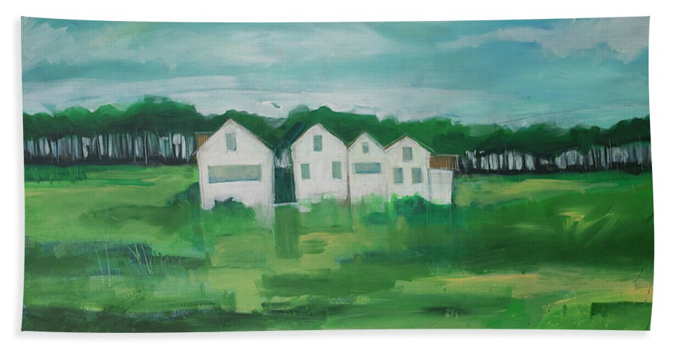 Settlement Beach Towel featuring the painting Settlement By Field by Tim Nyberg