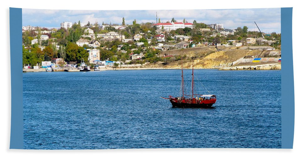 2 Masted Boat Beach Towel featuring the photograph Sevastapol. Ukraine by Phyllis Kaltenbach