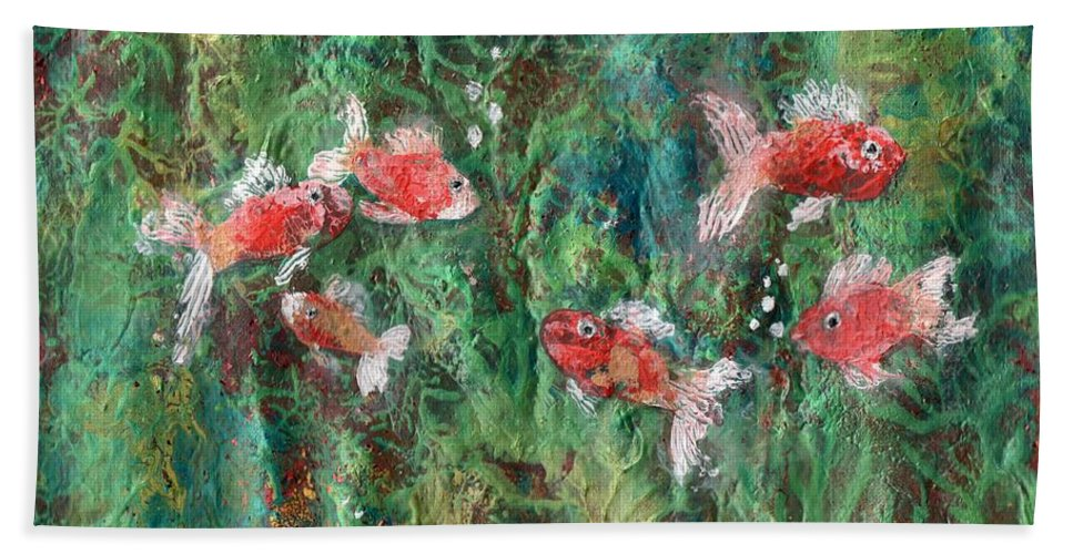 Acrylic Beach Towel featuring the painting Seven Little Fishies by Maria Watt