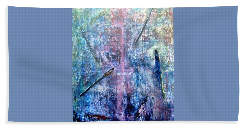 Abstract Beach Towel featuring the painting Seven Zippers by Nancy Mueller