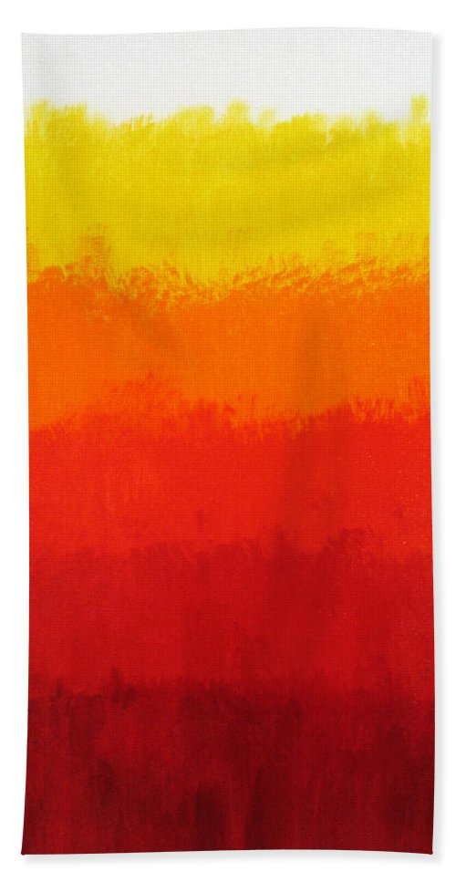 Red Beach Towel featuring the painting Seventh by Oliver Johnston