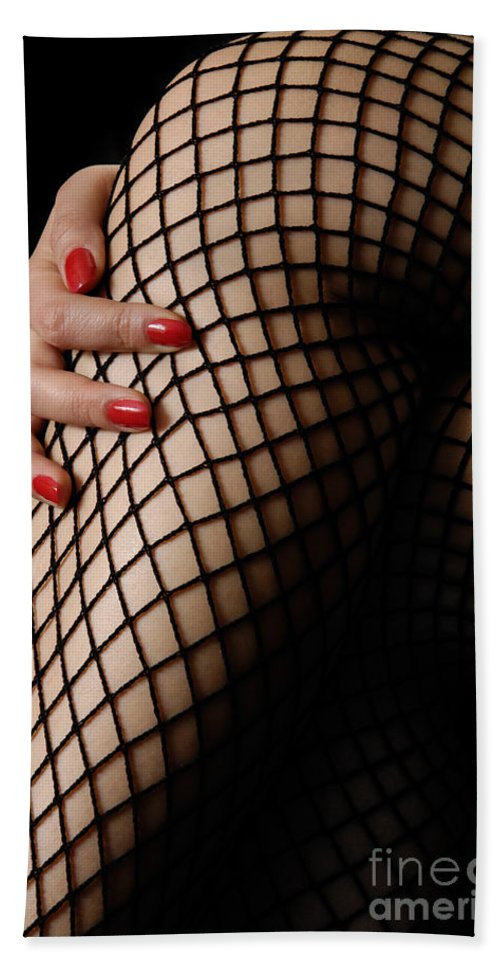 Legs Beach Towel featuring the photograph Sexy Legs In Fishnet Stockings by Oleksiy Maksymenko