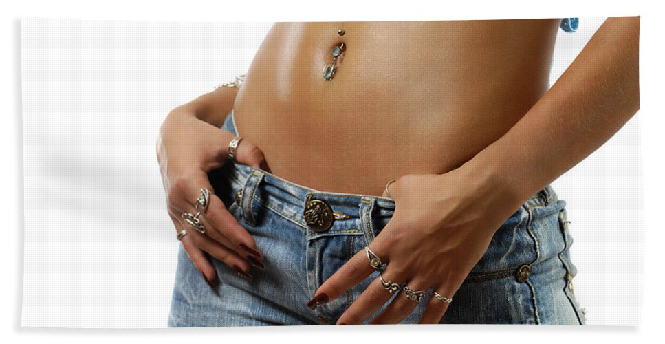 Stomach Beach Towel featuring the photograph Sexy Woman With Pierced Belly In Blue Jeans by Oleksiy Maksymenko