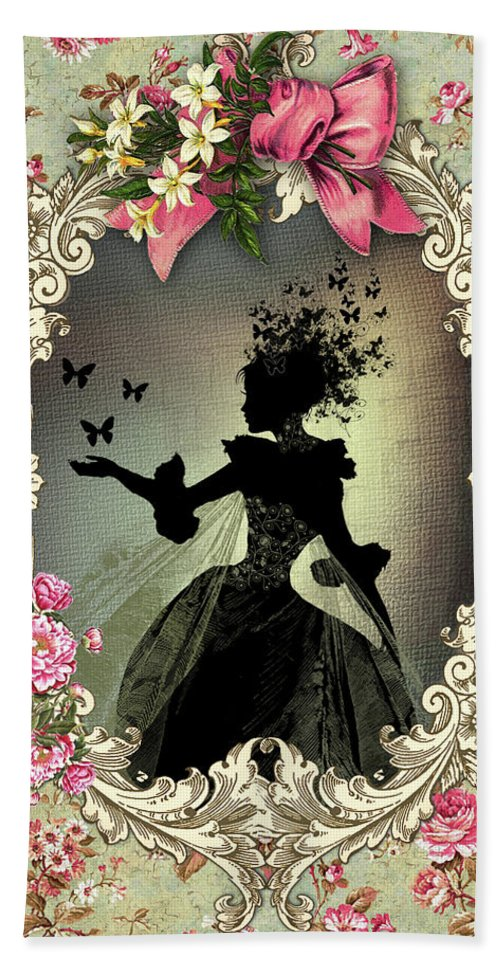 Fairy Beach Towel featuring the mixed media Shabby Fae Silhouette Freedom by Alysa Graphique