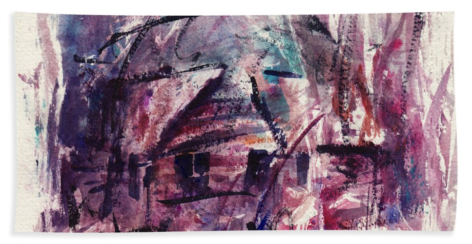 Shack Beach Towel featuring the painting Shack First Movement by Rachel Christine Nowicki