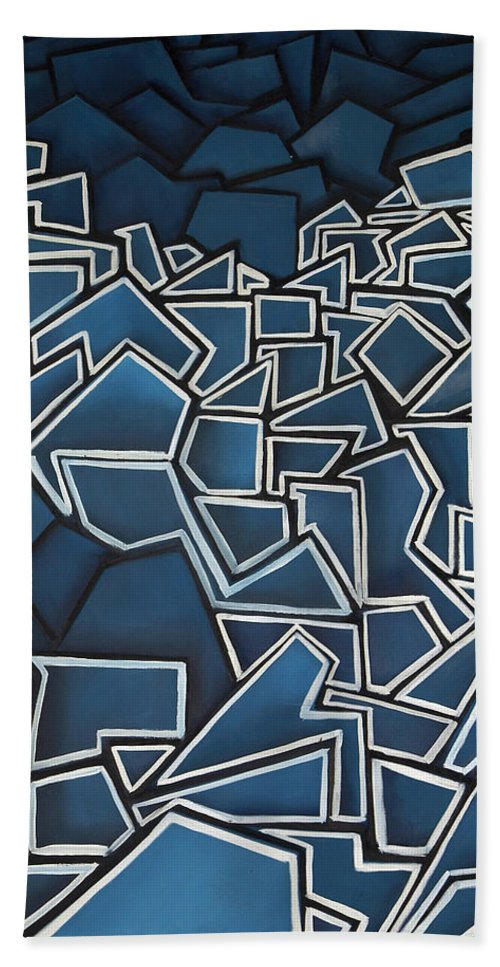 Abstract Beach Towel featuring the painting Shadderd Space by Thomas Valentine