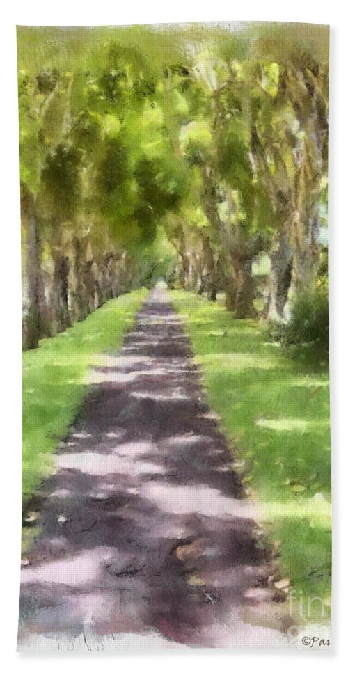 Kauai Beach Towel featuring the painting Shaded Walkway To Princeville Market by Paulette B Wright