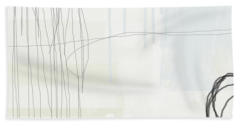 Abstract Beach Towel featuring the painting Shades Of White 1 - Art By Linda Woods by Linda Woods