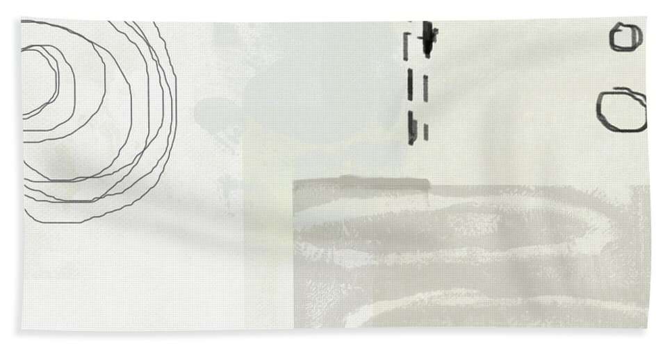 Abstract Beach Towel featuring the painting Shades Of White 4- Art By Linda Woods by Linda Woods