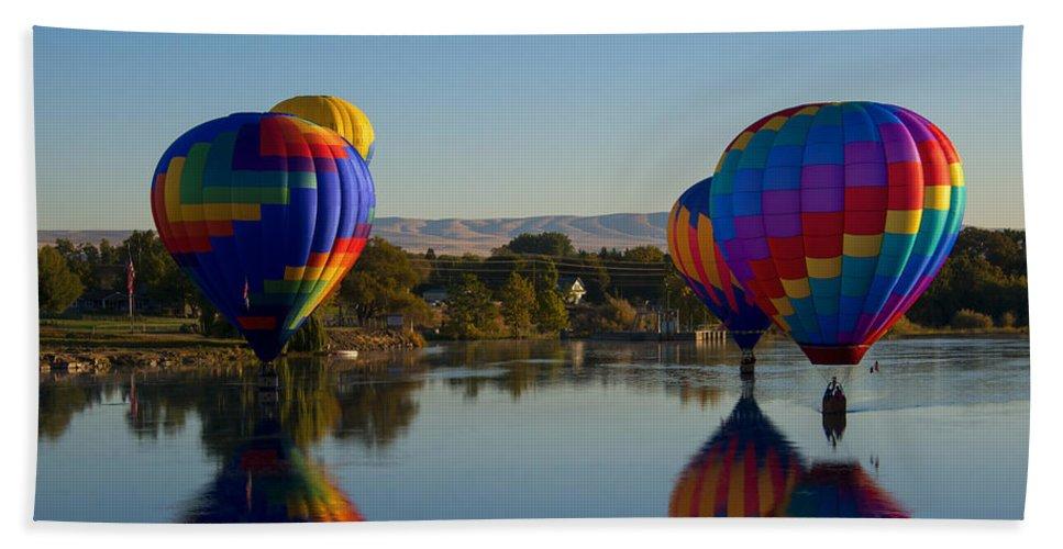 Hot-air Balloons Beach Towel featuring the photograph Shadow Dancing by Mike Dawson