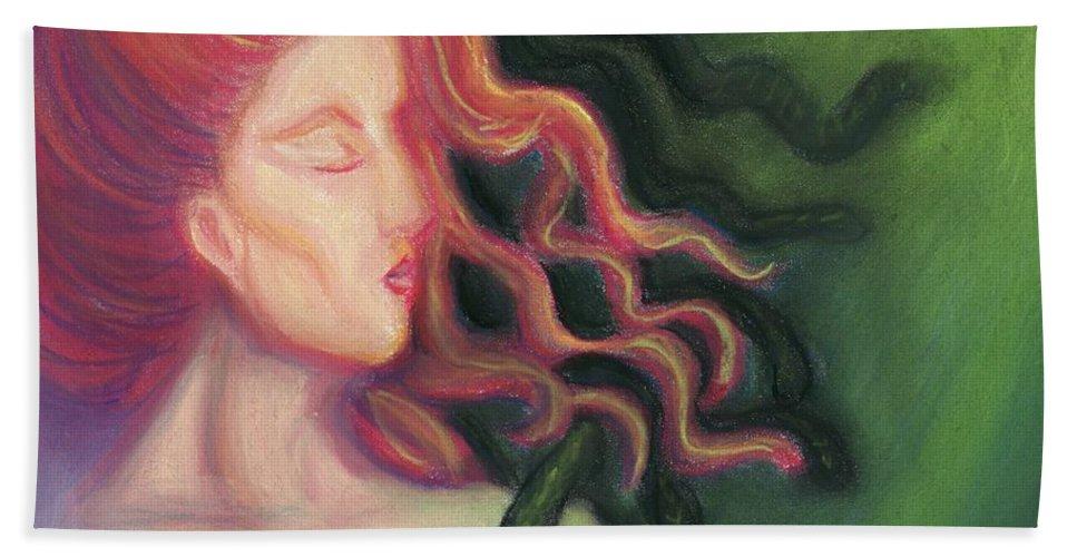 Goddess Beach Towel featuring the painting Shadow Of Medusa by Cassandra Geernaert